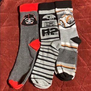 Star Wars socks 2 new 1 used